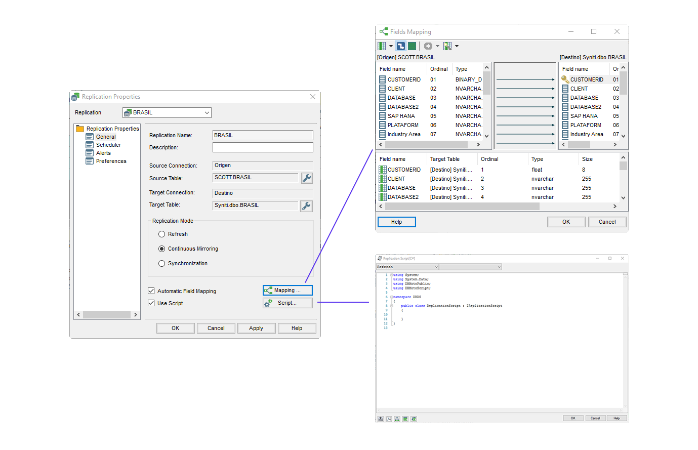 Syniti Data Replication opciones de mapping y scripting