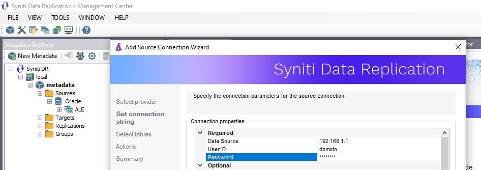 Conexión a Oracle Syniti Data Replication
